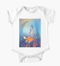 Abstract cartoon colorful underwater background with gold fish 2 Kids Clothes