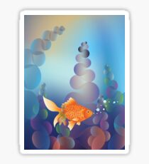 Abstract cartoon colorful underwater background with gold fish 2 Sticker