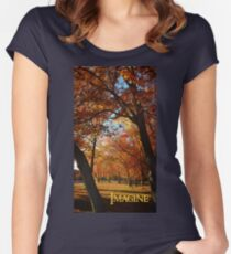 Imagine, inspiring autumn scene and blue skies. Women's Fitted Scoop T-Shirt