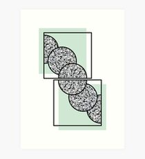 Minimal Abstract Terrazzo and Nude Mint Green Art Print