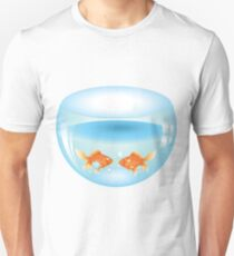 Gold fish swimming in the water in a fishbowl Unisex T-Shirt