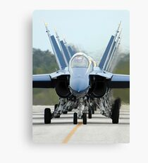 F/A-18A Hornets assigned to the Blue Angels, taxi back to their flight line. Canvas Print