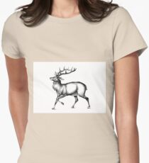 Antique stag art drawing handmade nature 02 Womens Fitted T-Shirt
