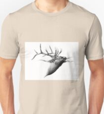 Antique stag art drawing handmade nature 06 Unisex T-Shirt