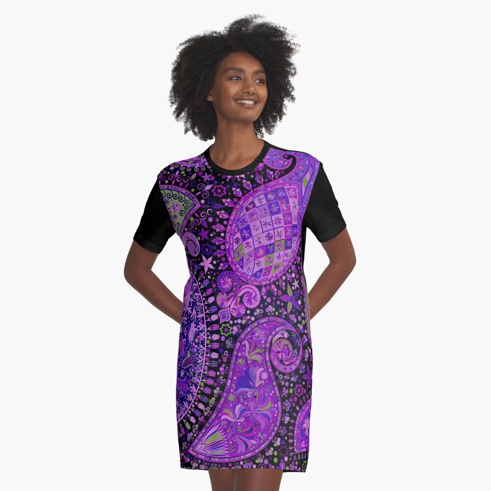 Boho Paisley Madness Var. 3 Graphic T-Shirt Dress