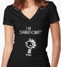 calvin hobbes-logo Women's Fitted V-Neck T-Shirt