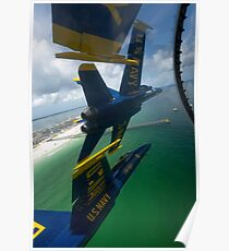 The Blue Angels perform the Diamond 360 maneuver over Florida. Poster