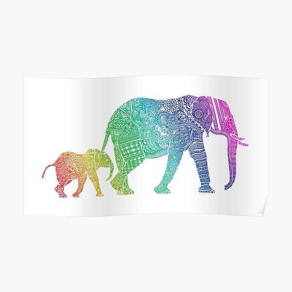 Zentangle Elephants Poster