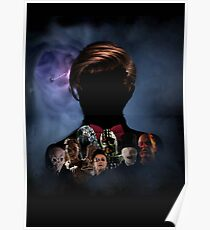 11th Doctor Silhouette with Enemies Poster