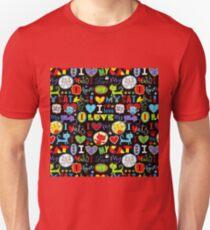 #110, ANIMAL, Cartoon Art, I Love Cats Unisex T-Shirt