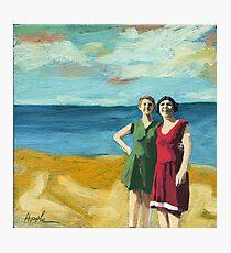 Friends On the Beach - women beach scene oil painting Photographic Print