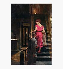 Vintage Couple on Stairs Hotel Bar Photographic Print
