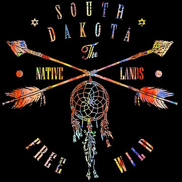 South Dakota Native Lands, Free and Wild, Native American Watercolor print by Jeditwins
