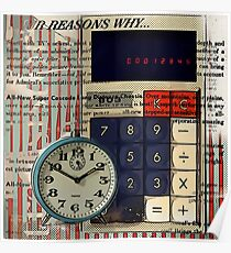 cool geeky nerdy alarm clock retro calculator  Poster