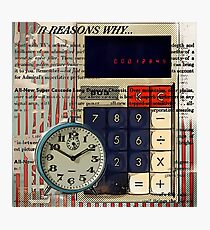 cool geeky nerdy alarm clock retro calculator  Photographic Print