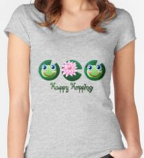 Happy Hopping [FROG PATTERN] Women's Fitted Scoop T-Shirt