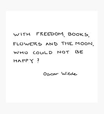 with freedom, books, flowers and the moon Photographic Print