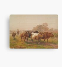 Cows in landscape, 1901, United Kingdom, by Henry Birtles. Canvas Print
