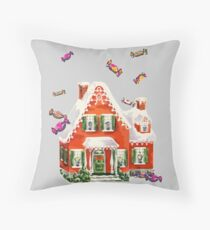 retro candy gingerbread house ugly Christmas Sweater Throw Pillow