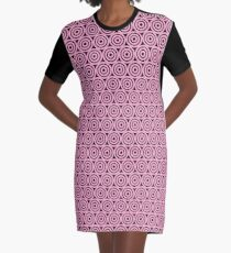 Circle Pattern - Repeating Pink Graphic T-Shirt Dress