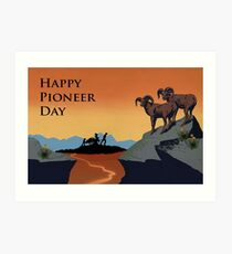 Pioneer Day, Utah Landscape, Bighorn Sheep, Pioneers Art Print
