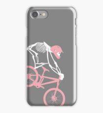 Pink and grey skeleton on bicycle iPhone Case/Skin
