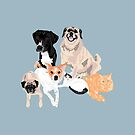 4 Dogs and 2 cats by VieiraGirl