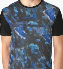 Blue and Black Graffiti, Acrylic Graffiti Graphic T-Shirt