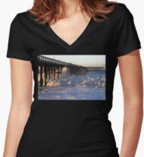 Ocean Wave Storm Pier Women's Fitted V-Neck T-Shirt