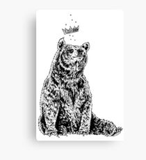 Bear with Crown (on White) Canvas Print