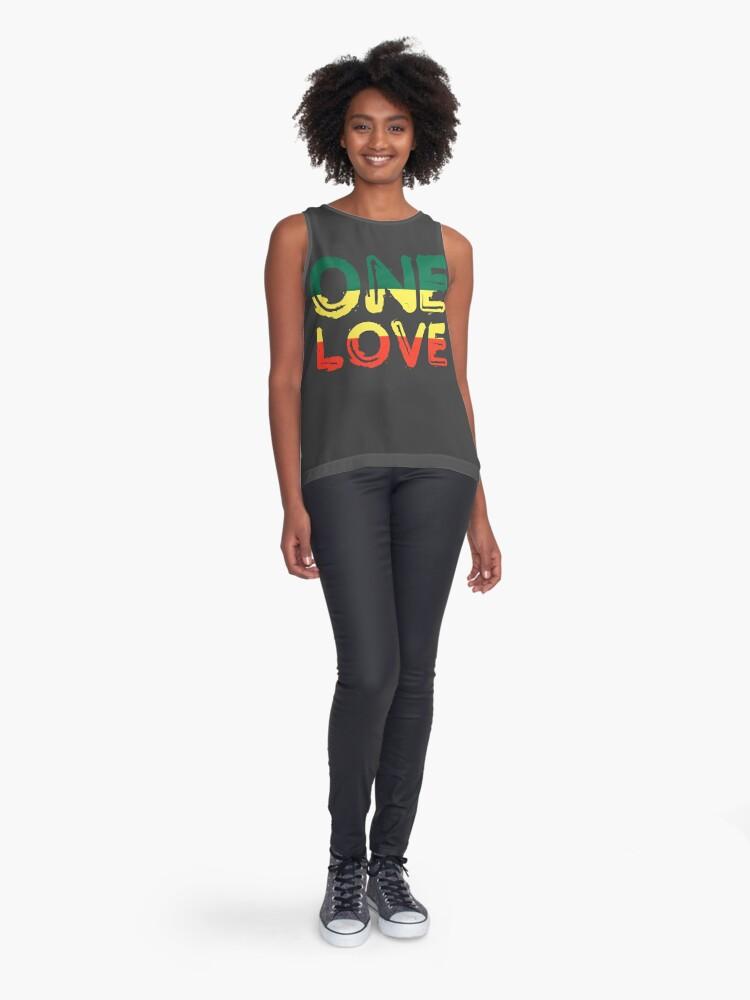 Alternate view of One Love Reggae Peace Weed Rasta Chill Stoner Quote Sleeveless Top