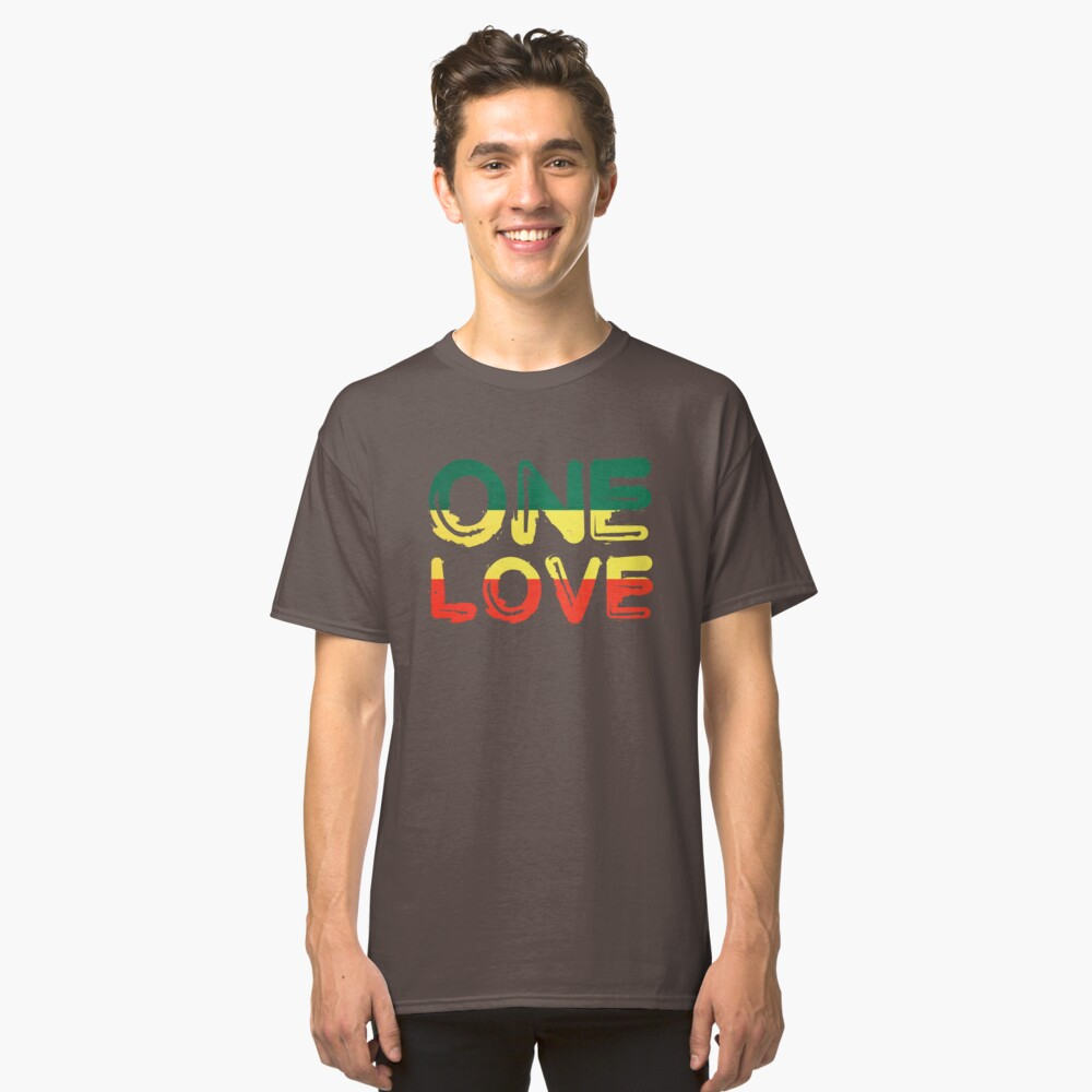 One Love Reggae Peace Weed Rasta Chill Stoner Quote Classic T-Shirt