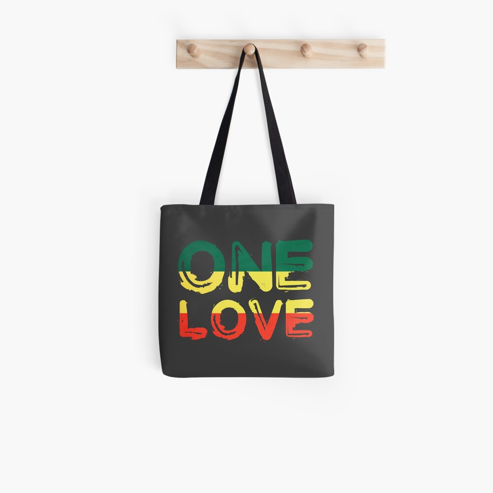 One Love Reggae Peace Weed Rasta Chill Stoner Quote Tote Bag