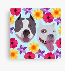 Pit Bulls With Flowers  Canvas Print