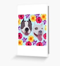 Pit Bulls With Flowers  Greeting Card