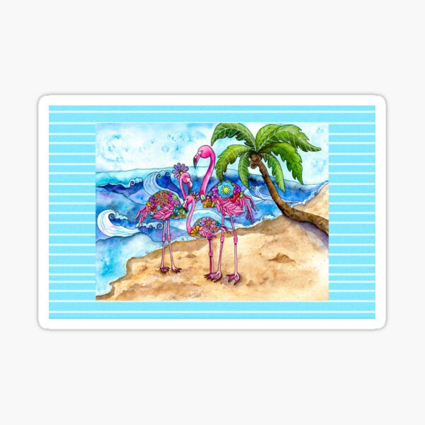 The Flamingo Family's Day at the Beach Sticker