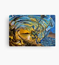 Crashing Wave Sonnenuntergang Malerei - Hawaiian Gold II Metallbild