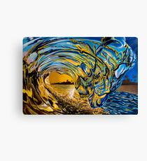 Crashing Wave Sunset Painting - Hawaiian Gold II Canvas Print