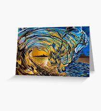 Crashing Wave Sunset Painting - Hawaiian Gold II Greeting Card