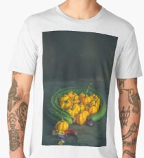 Still life with zucchini, peppers and pansies. Men's Premium T-Shirt