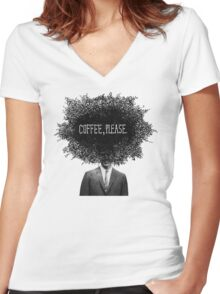 Coffee, Please Women's Fitted V-Neck T-Shirt