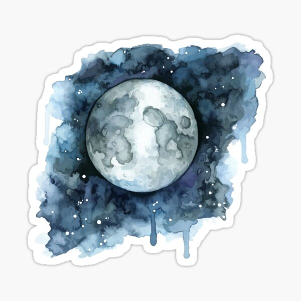Watercolor Moon Sticker