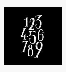 Black Number 1-9 Photographic Print