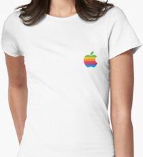 Rainbow Apple Logo Womens Fitted T-Shirt