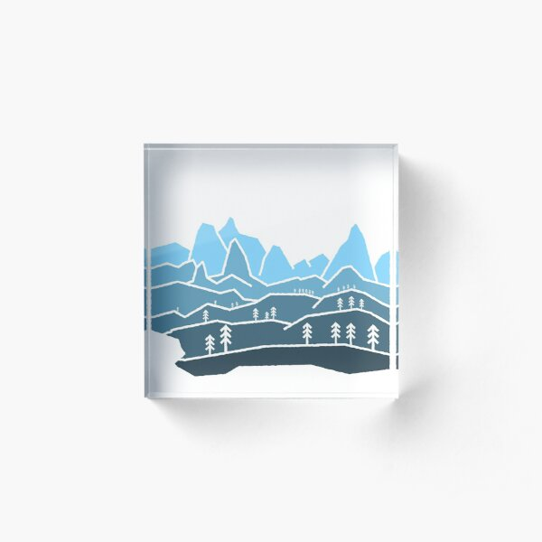 Mountain View Staggered Blue Acrylic Block
