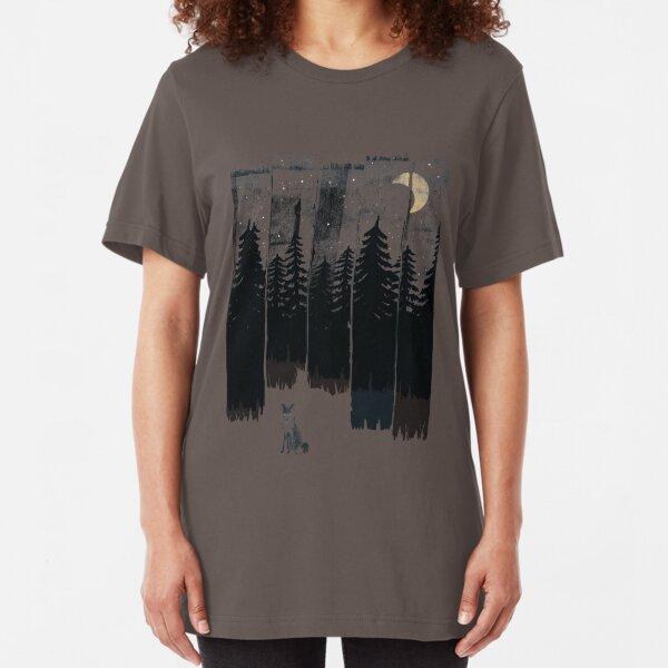 A Fox in the Wild Night Slim Fit T-Shirt