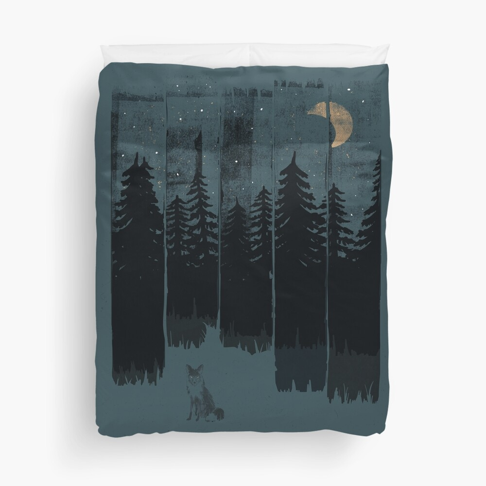 A Fox in the Wild Night Duvet Cover