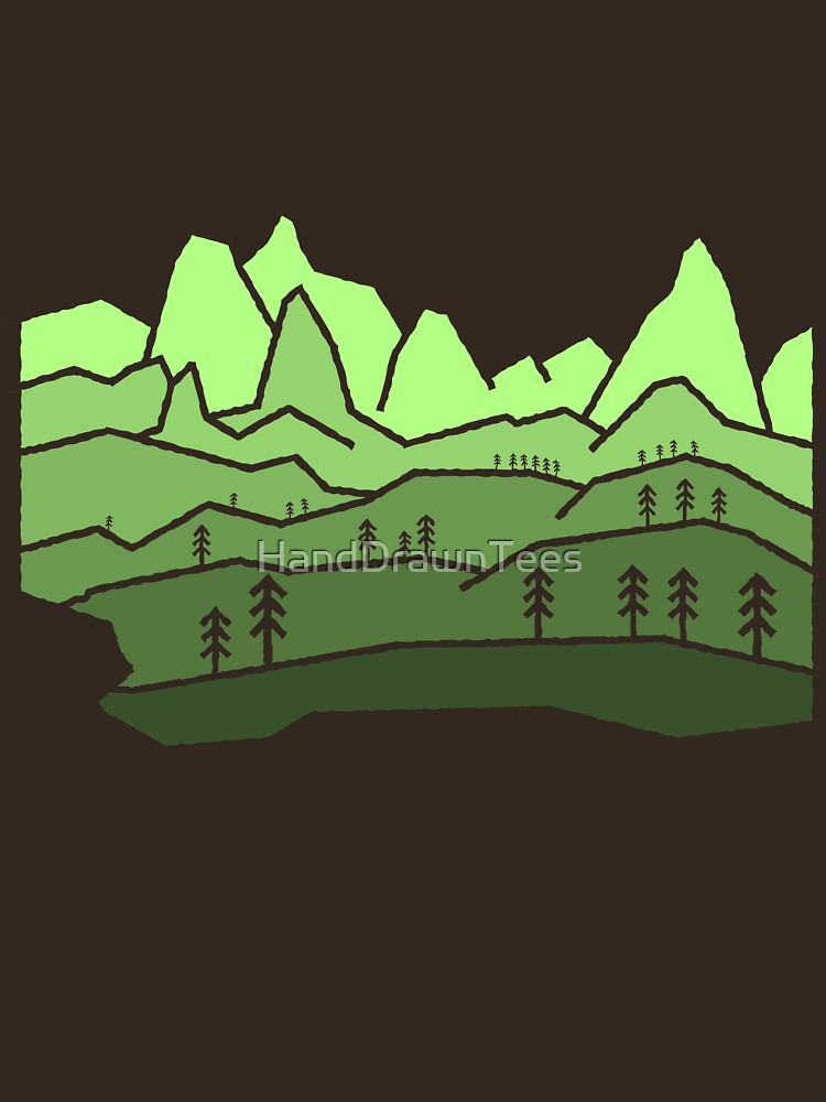 Mountain View Staggered Green by HandDrawnTees