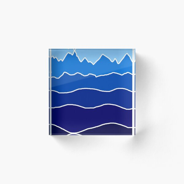 Landscape Staggered Blue Acrylic Block