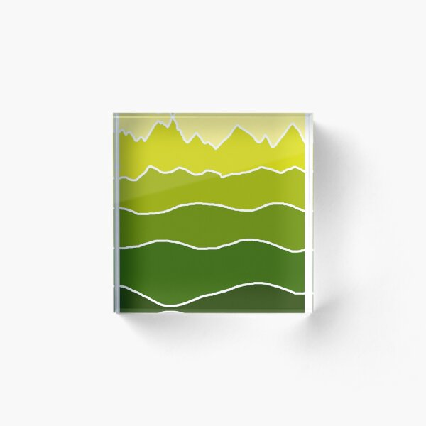 Landscape Staggered Green Acrylic Block